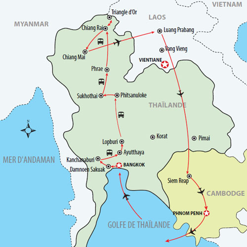 Carte Laos Thailande.Thailande Laos Cambodge 23 Jours Voyages Circuit Oriental Inc