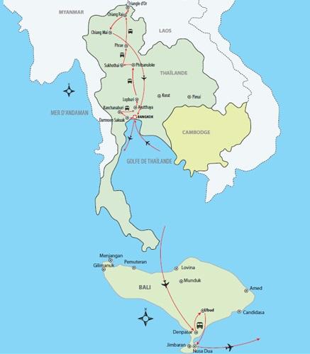 Carte Bali Thailande.Thailande Classique Extension A Bali 22 Jours Voyages